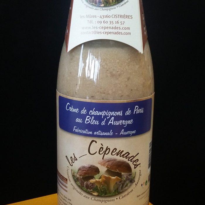 Crème de champignons de Paris au Bleu d'Auvergne Les cèpenades