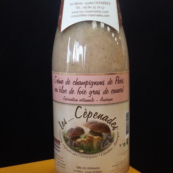 Crème de champignons de Paris au bloc de foie gras Les cèpenades