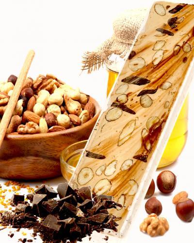 Nougat miel chocolat fruits secs