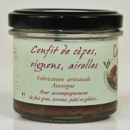 Confit de cèpes, oignons, airelles fabrication artisanale d'auvergne